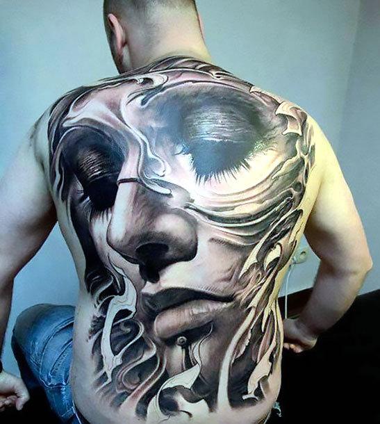 Full Back Face Tattoo Idea