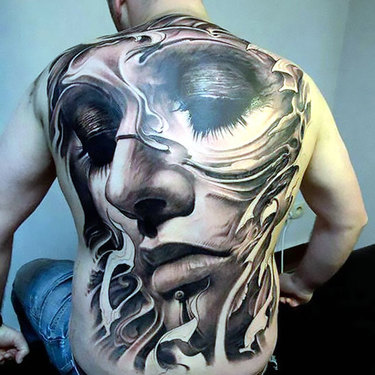 Full Back Face Tattoo