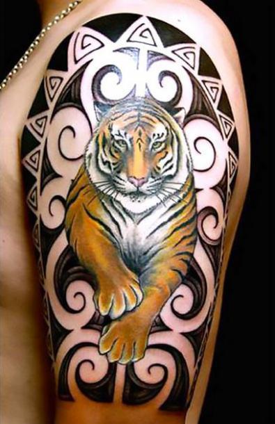 Amazing Tiger Arm Tattoo Idea