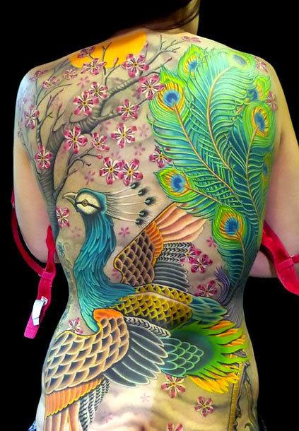 Full Back Japanese Peacock Tattoo Idea