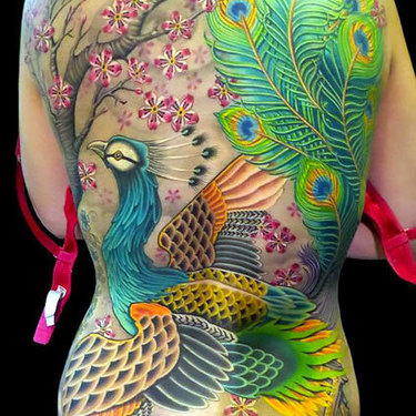 Full Back Japanese Peacock Tattoo