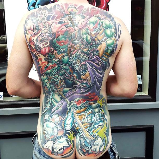 Full Back Ninja Turtles Tattoo Idea