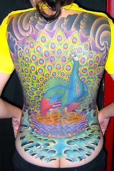 Full Back Peacock Tattoo Idea