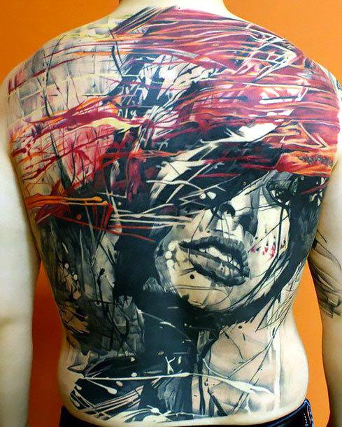 Full Back Trash Polka Tattoo Idea