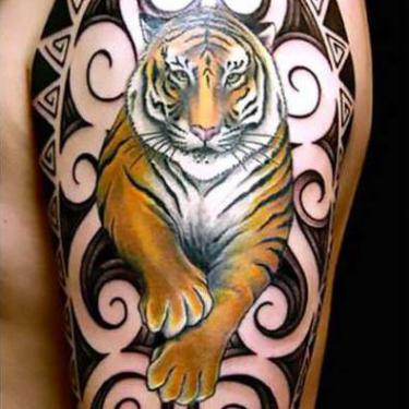 Amazing Tiger Arm Tattoo