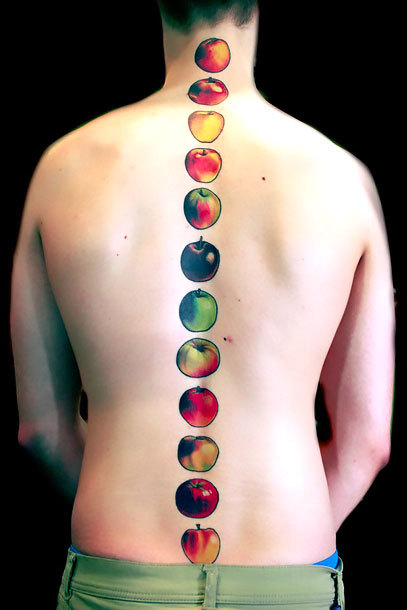 Funny Apples on Spine Tattoo Idea