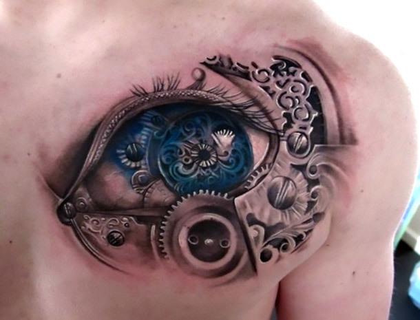 3D Chest Biomechanical Eye Tattoo Idea
