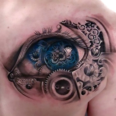 3D Chest Biomechanical Eye Tattoo