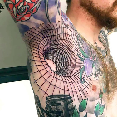 3D Illustion Tattoo on Armpit Tattoo