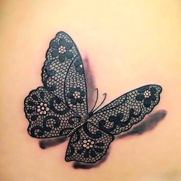 3D Lace Butterfly Tattoo