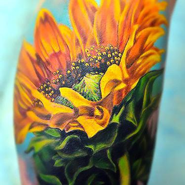 3D Realistic Yellow Sunflower Tattoo