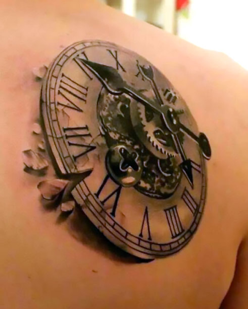 3D Steampunk Clock Tattoo Idea