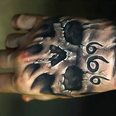 Amazing 3D 666 Skull Tattoo on Hand Tattoo
