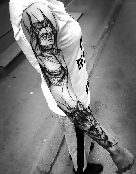Amazing Sketch Style Sleeve Tattoo Idea