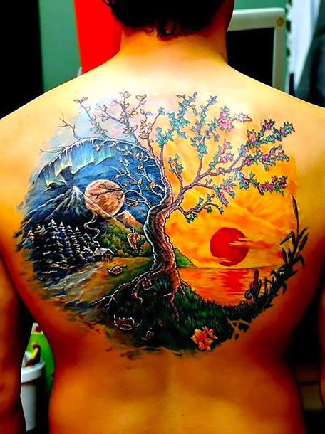 Amazing Yin Yang Tree Tattoo Idea