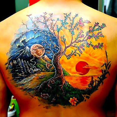 Amazing Yin Yang Tree Tattoo