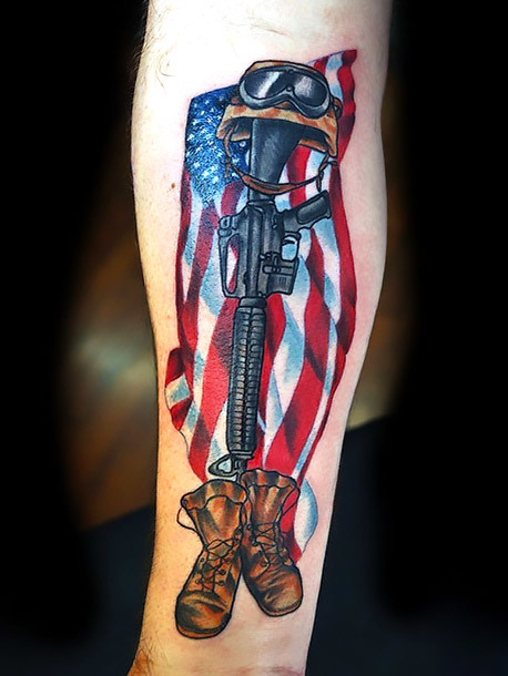 American Army Patriot Tattoo Idea