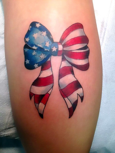 American Flag Bow Tattoo Idea