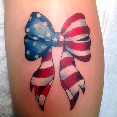 American Flag Bow Tattoo