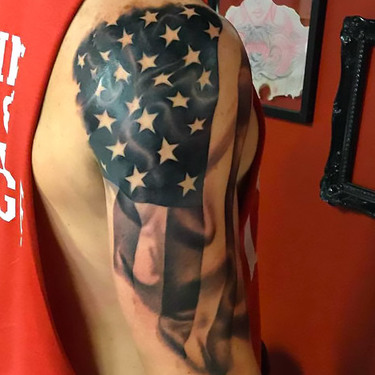 American Flag on Shoulder Tattoo