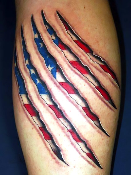 American Flag Scar Tattoo Idea