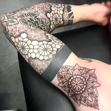 Armpit Mandala and Dotwork Sleeve Tattoo