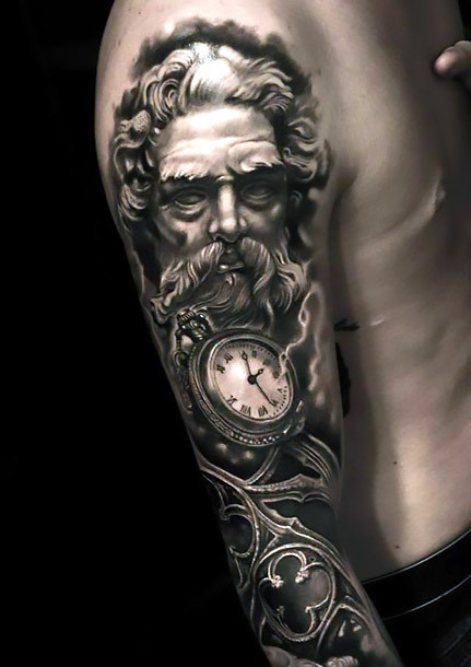 Best Black and Gray Gothic Tattoo for Men Tattoo Idea