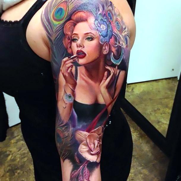Best Pin Up Tattoo on Shoulder Tattoo Idea