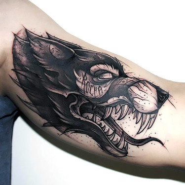 Best Sketch Style Wolf Tattoo on Bicep Tattoo