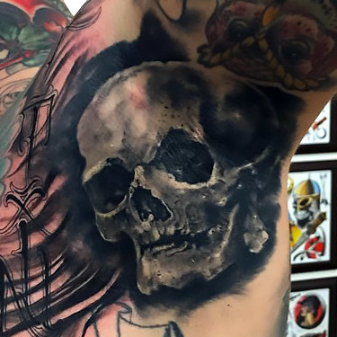 Black and Gray Skull Armpit Tattoo