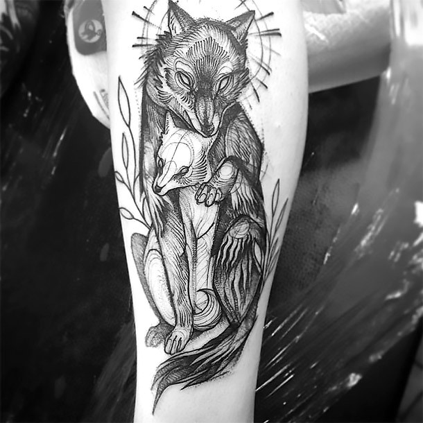 Black and White Wolves Tattoo In Sketch Style Tattoo Idea