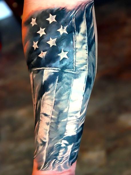 Cool American Flag Tattoo Idea