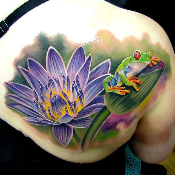 Amazing Tree Frog and Waterlily Flower Tattoo Idea