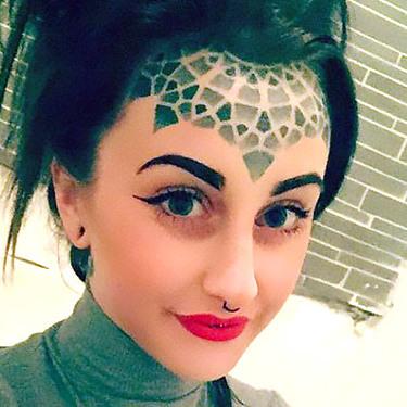 Cool Dotwork forehead Tattoo