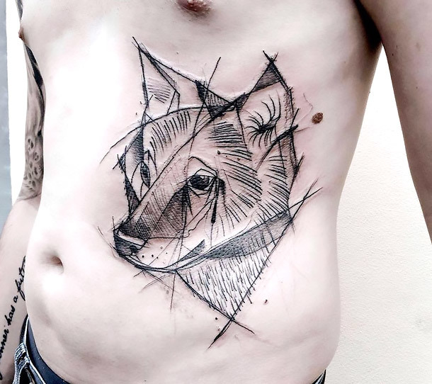 Cool Sketch Style Wolf Tattoo for Men Tattoo Idea