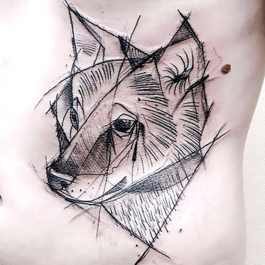 Cool Sketch Style Wolf Tattoo for Men Tattoo