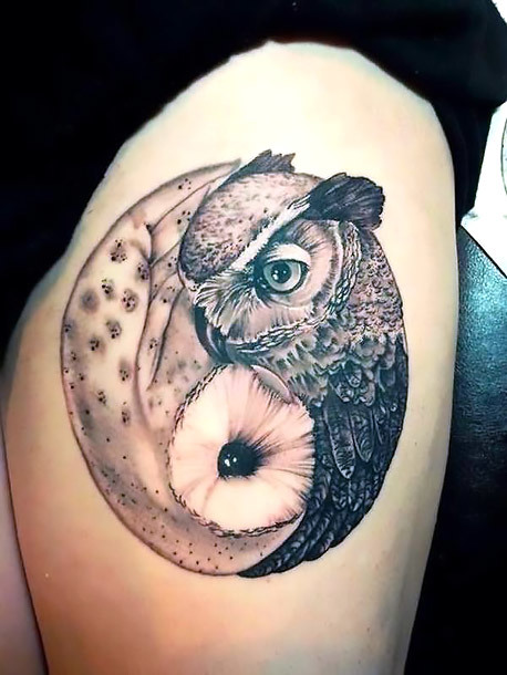 Cool Yin Yang Owls Tattoo Idea