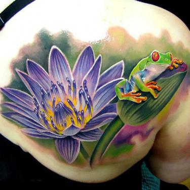 Amazing Tree Frog and Waterlily Flower Tattoo