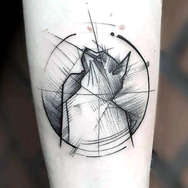 Creative Cat Tattoo In Sketch Style Tattoo Idea