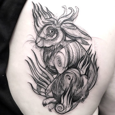 Creative Rabbit Tattoo In Sketch Style Tattoo