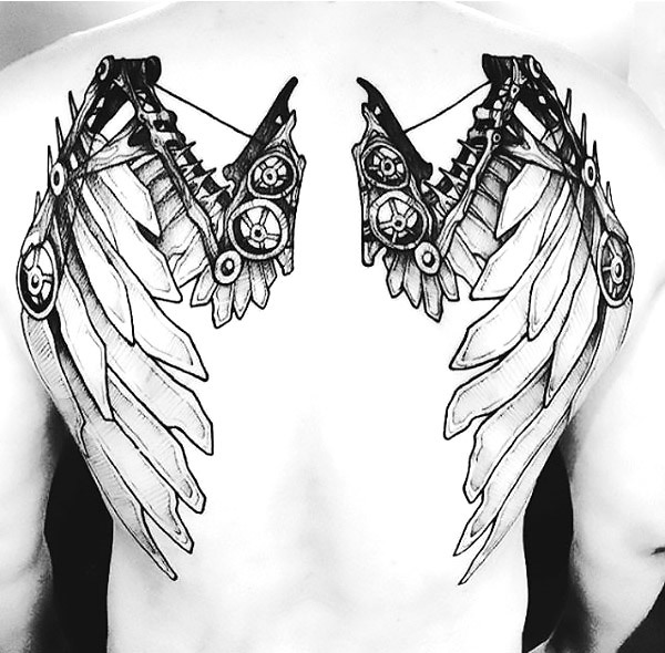Creative Steampunk Wings Tattoo Idea