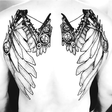 Creative Steampunk Wings Tattoo