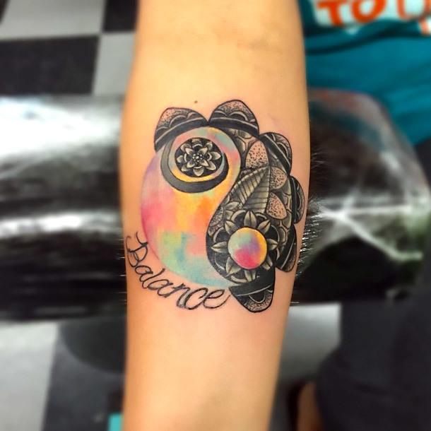 Creative Yin Yang Balance Tattoo Idea
