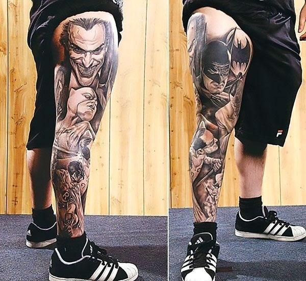 Batman and The Joker on Leg Tattoo Idea
