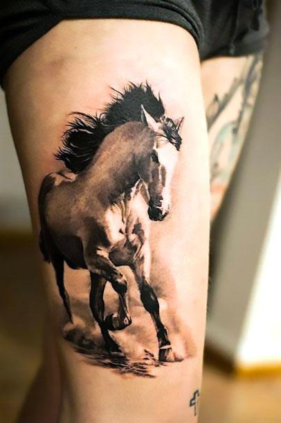 Amazing Wild White Horse Tattoo Idea