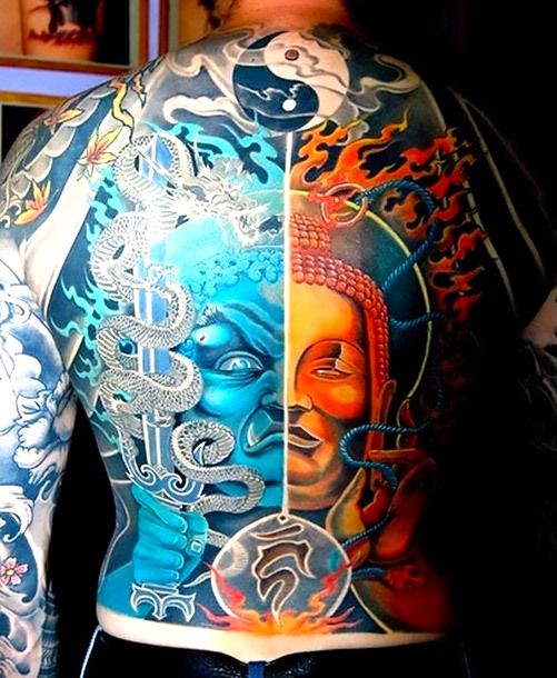 Full Back Yin Yang Buddha Tattoo Idea