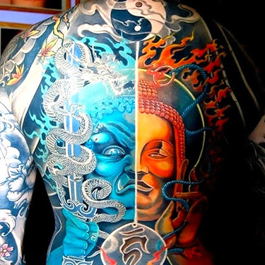 Full Back Yin Yang Buddha Tattoo