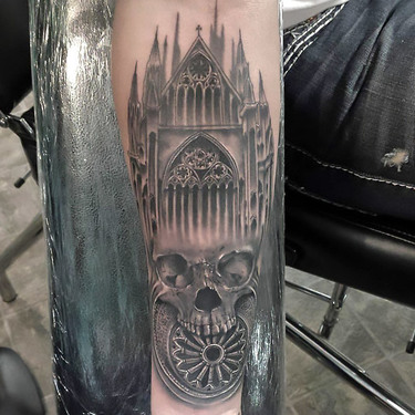 Gothic Cathedral and Skull Tattoo