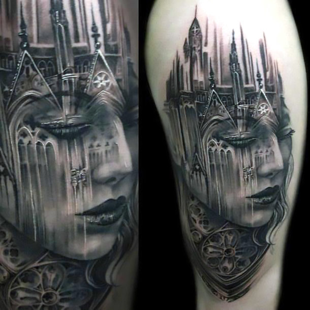 Gothic Girl Face Cathedral Tattoo Idea
