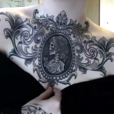 Gothic Skeleton Portrait Tattoo on Chest Tattoo